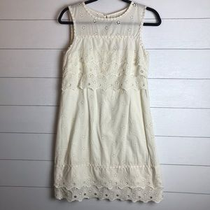 J. Crew Tiered Eyelet Ivory Dress